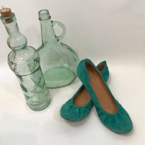 NINE WEST Jade Green Suede Ballet Flats